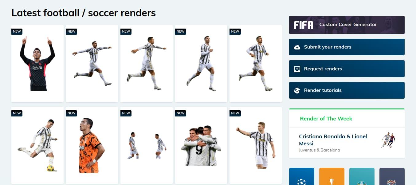 موقع مخصص لصور اللاعبين بدون خلفية وبدقة عالية بصيغة PNG