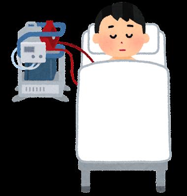 ECMO治療を受ける患者のイラスト