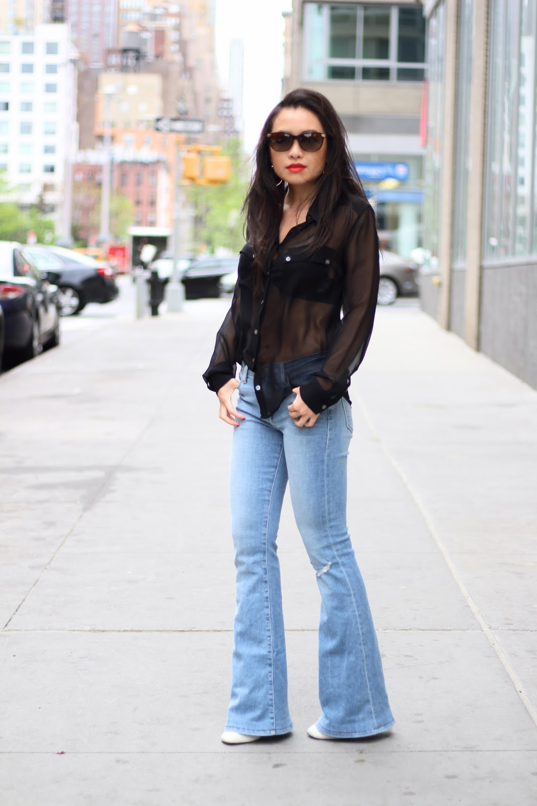 Frame le high flares and silk blouse