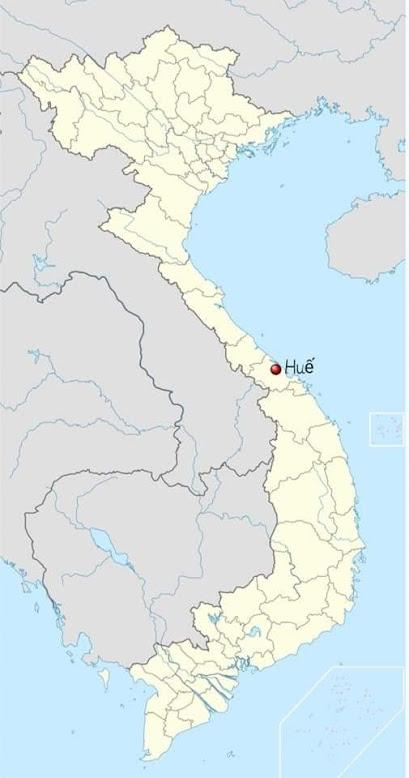 Vị trí của Huế nằm ở trung tâm của Việt Nam