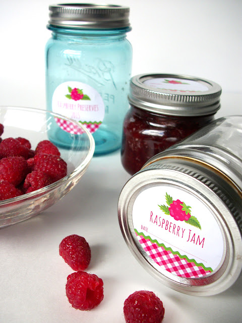 Gingham Red Raspberry Jam mason jar labels