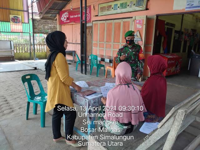 Tetap Terapkan Protokol Kesehatan Kepada Warga Dilakukan Personel Jajaran Kodim 0207/Simalungun