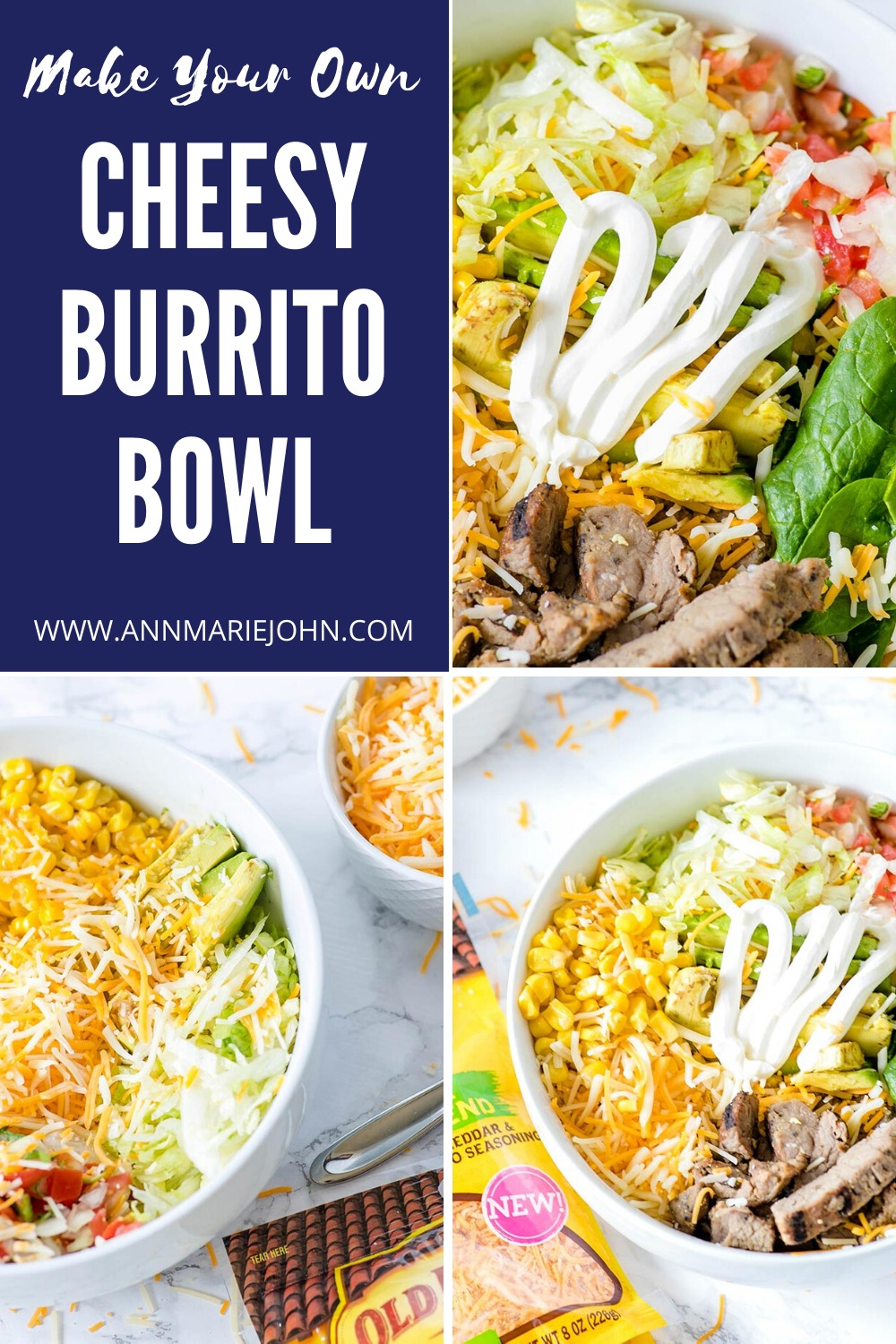 DIY Cheesy Burrito Bowl Pin