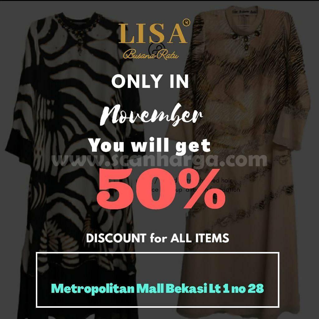 Butik LISA Busana Ratu Metmal Bekasi Discount 50% All Items