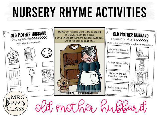 Nursery Rhyme activities for Kindergarten Old Mother Hubbard