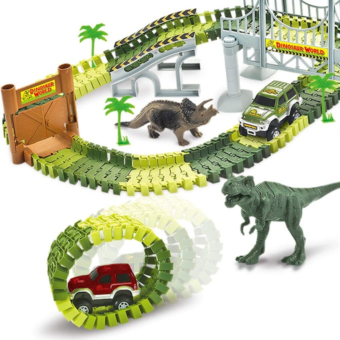 AMAZON - Dinosaur Race Car Track Train Toys