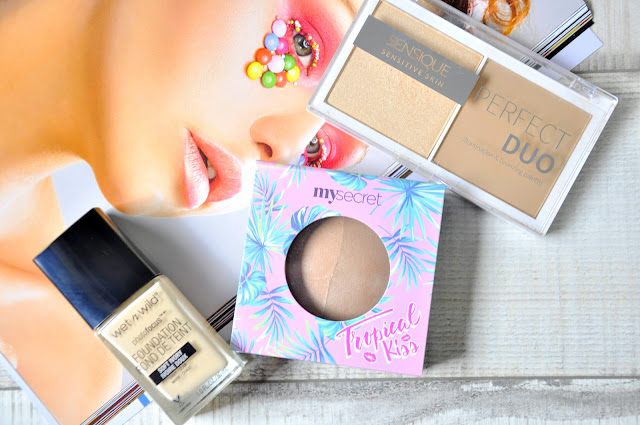 Podkład Wet n wild Photofocus, Bronzer My Secret Tropical Kiss, Bronzer i Rozświetlacz Perfect Duo Sensique
