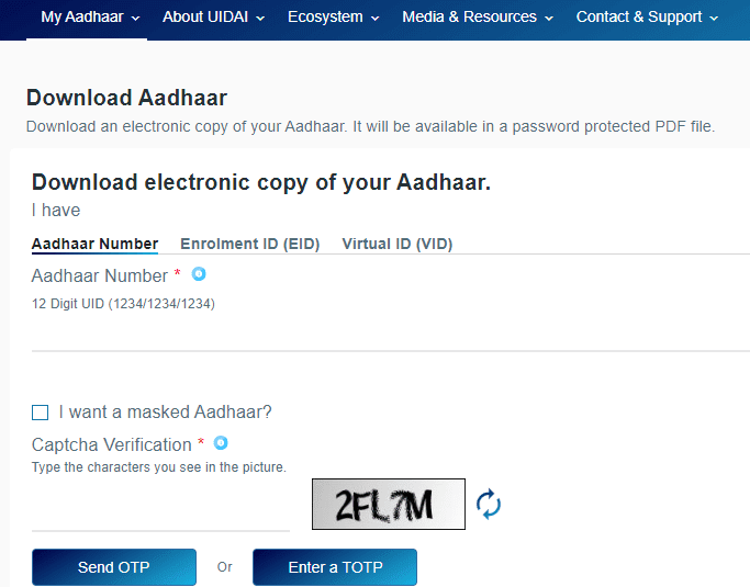Download Copy of Your Aadhar