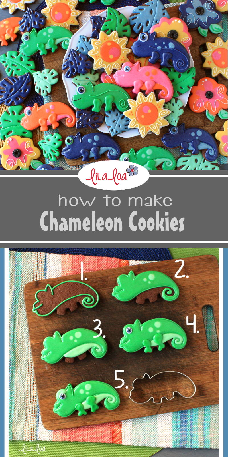 Chameleon sugar cookie decorating tutorial - how to make easy chameleon cookies!