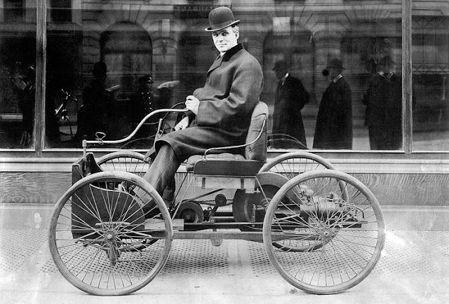 Image: Henry Ford sits in his first automobile, the Ford Quadricycle, in 1896 | Newsweek