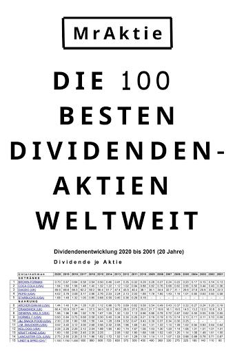Die 100 besten Dividendenaktien weltweit - Dividendenübersicht 20 Jahre (kostenlos downloadbar)