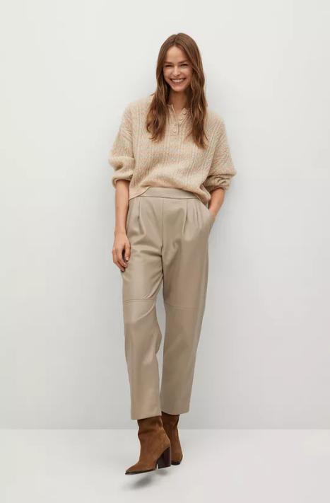 Mango - Pantaloni femei din imitatie de piele