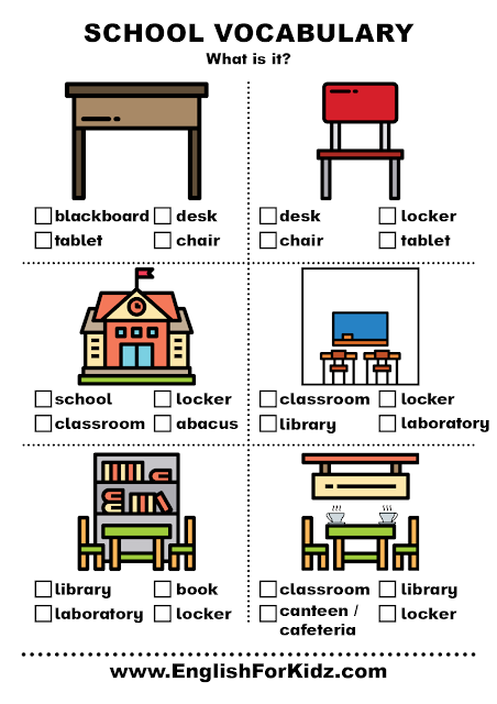 My school vocabulary worksheet for ESL students in elementary