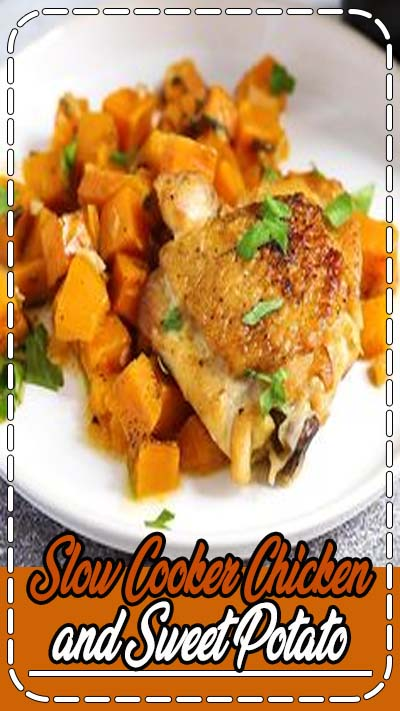 This Slow Cooker Chicken and Sweet Potato only requires 6 ingredients, 10 minutes to prep and it is a healthy, and easy meal-prep recipe for during the week! #slowcooker #chickenfoodrecipes #chicken
