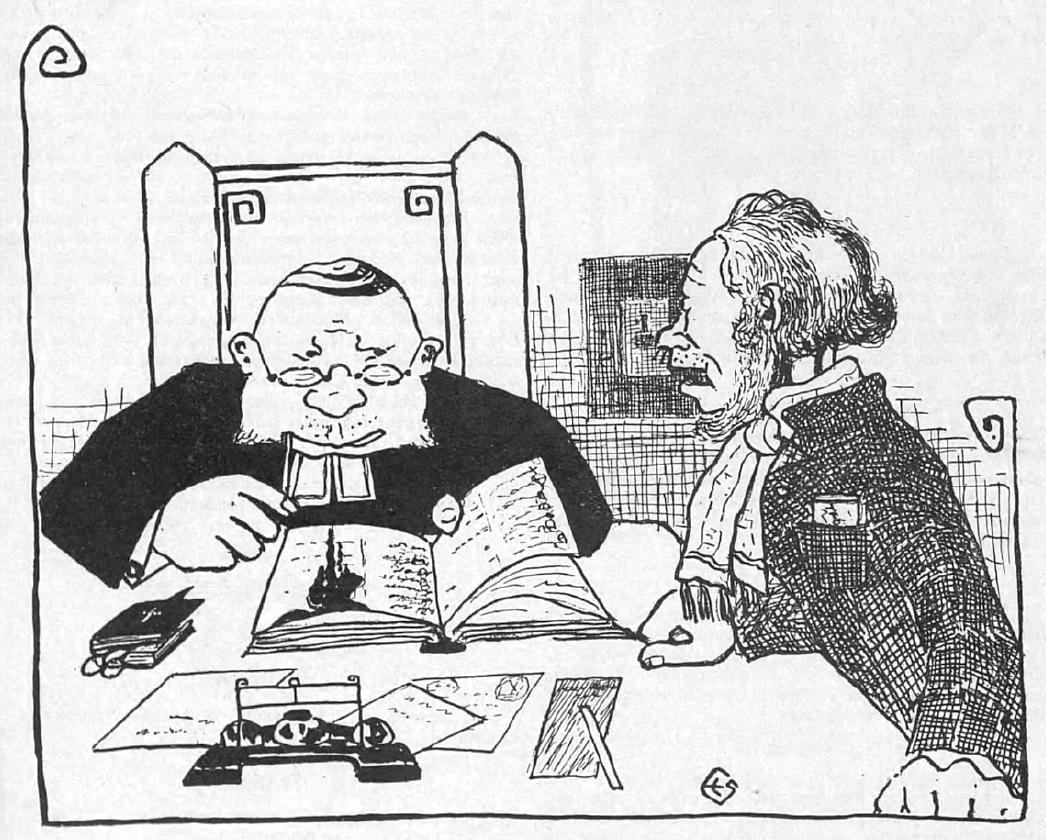 Piirros, jossa pöydän ääressä kaksi miestä. Toinen on pappi, jolla on edellään kirjoja ja kirjoitusvälineitä