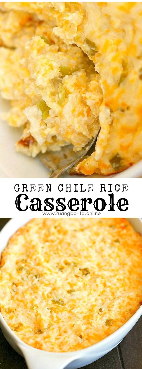 Green Chile Rice Casserole #maincourse #green #chile #rice #casserole