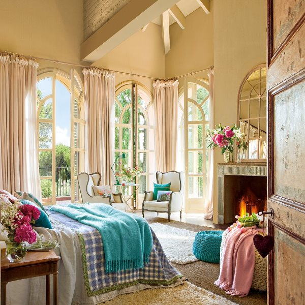 floral vintage bedroom furniture decorating with fireplace ideas