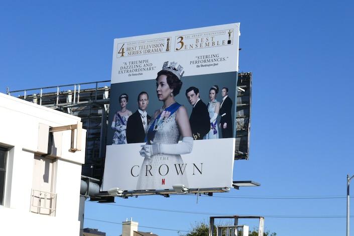 Crown season 3 Golden Globe nominee billboard