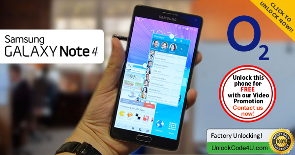 Factory Unlock Code Samsung Galaxy Note 4 from O2