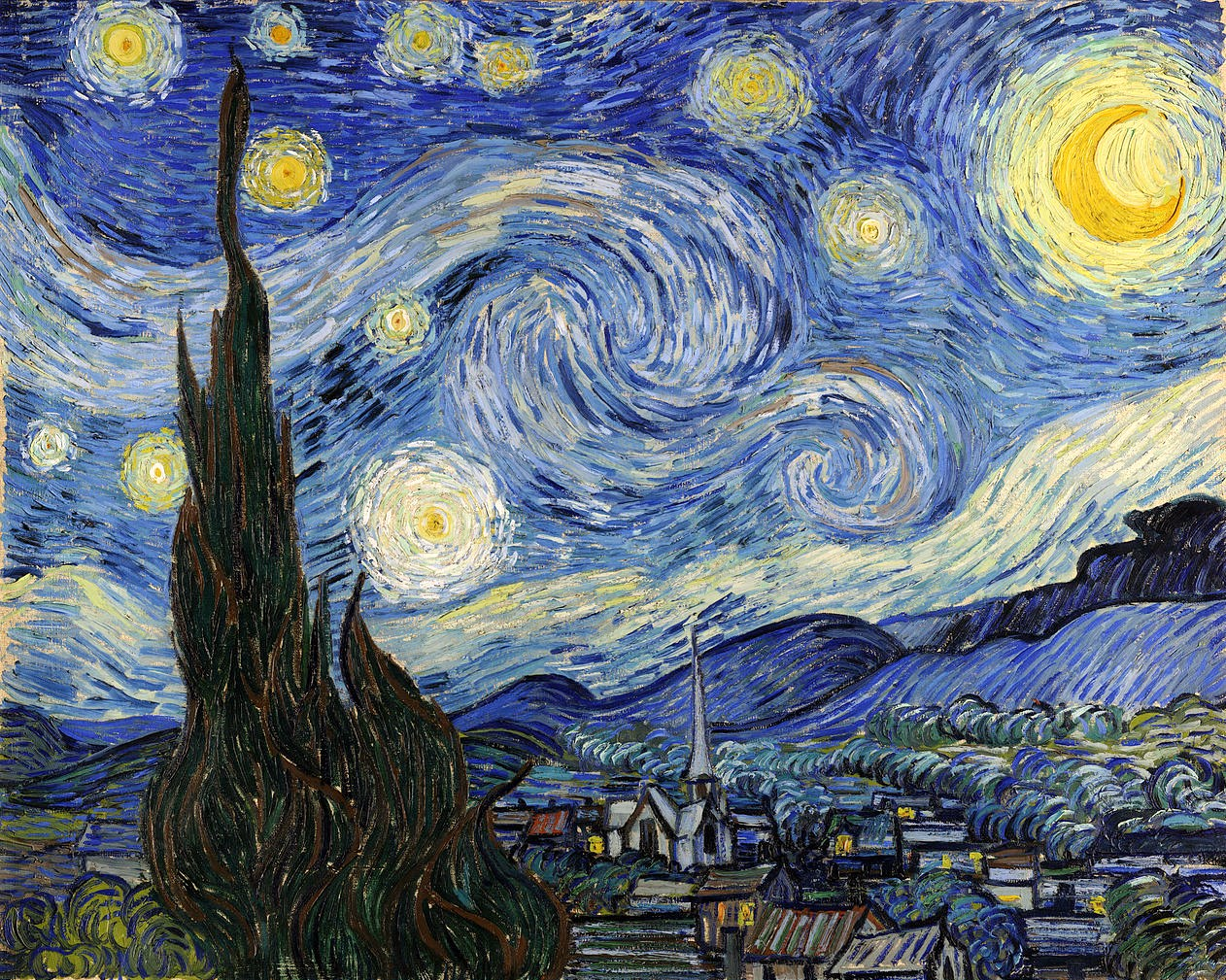 Post imspressionist painter Vincent van Gogh's The Starry Night, c.1889.