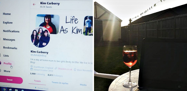 the new twitter layout and my laptop and glass of wine in the garden