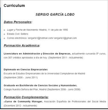 CV+Blog Que Contiene Un Curriculum Vitae on las habas, los chettos, una hormona, una boya dentro, el tabaco, etiqueta de paneton lo, el syncol, el desenfriol, el artriflam, la mucinex,