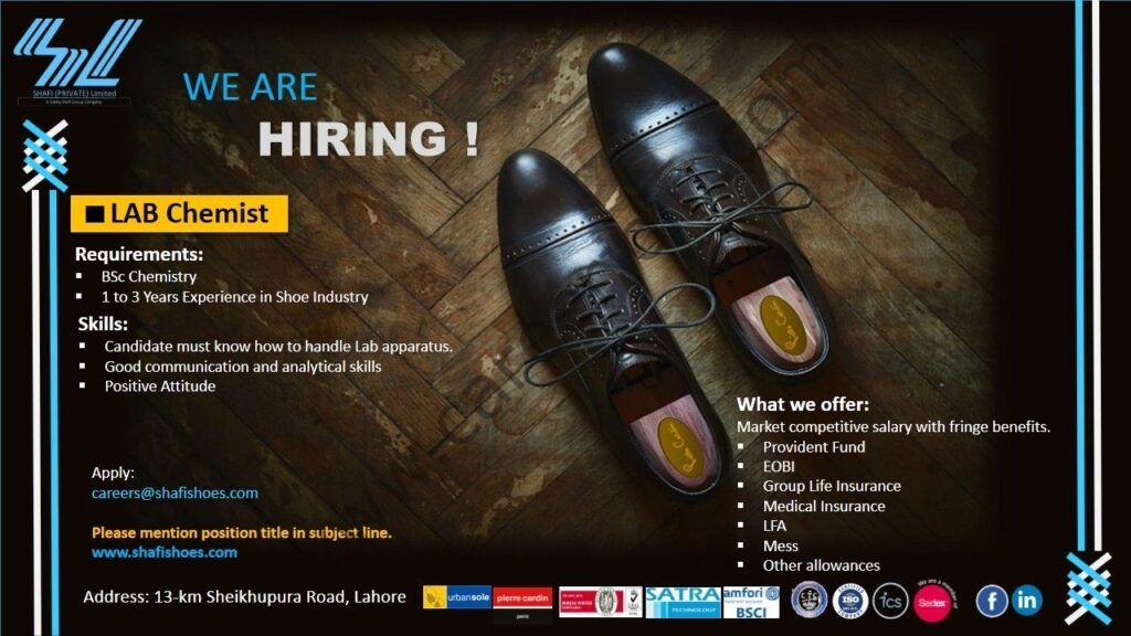careers@shafishoes.com - Shafi Private Ltd Jobs 2021 in Pakistan