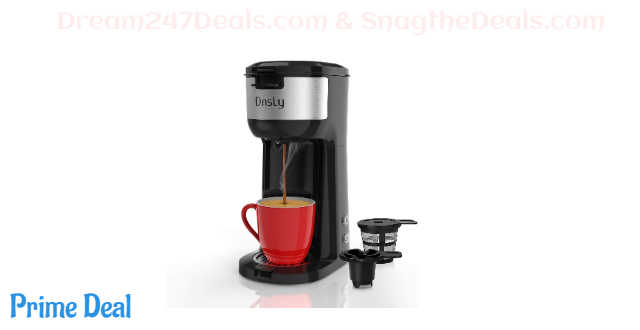 50% off Dnsly Coffee Maker Single Serve, for K-Cup Pod & Ground Coffee 2 in 1 Coffee Machine, Strength-Controlled Self Cleaning Function, Advanced Black