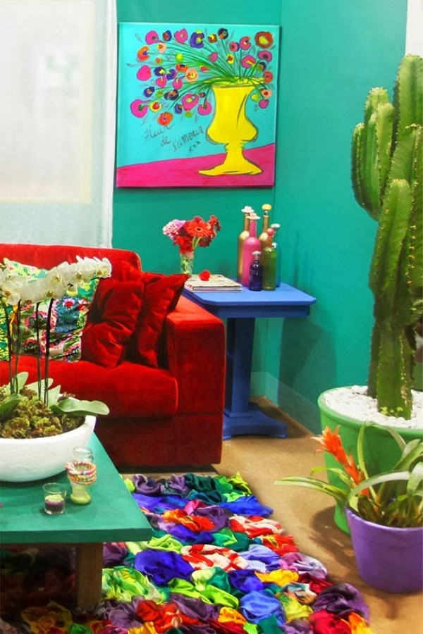 frida kahlo e as cores vibrantes na decora o reciclar e. Black Bedroom Furniture Sets. Home Design Ideas
