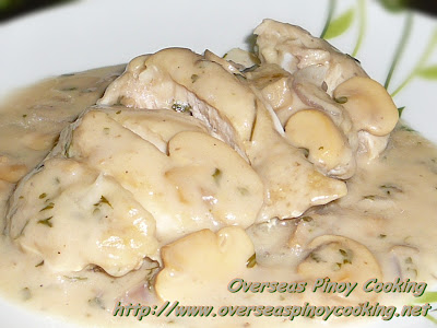 Chicken with Mushroom Sauce - Sliced