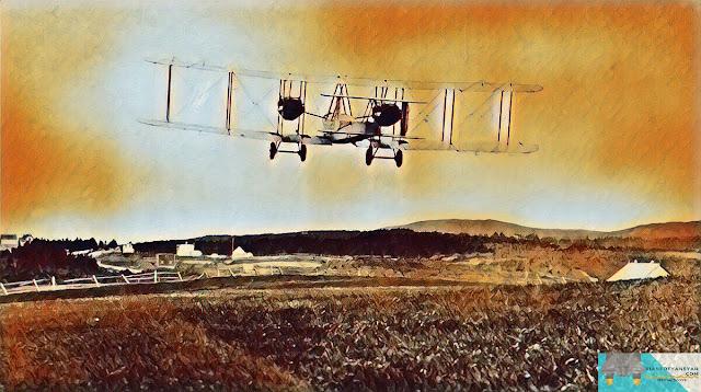 Pesawat Vimy teke-off