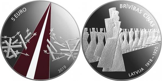 Latvia 5 euro 2019 - Freedom Fights (1918-1920)