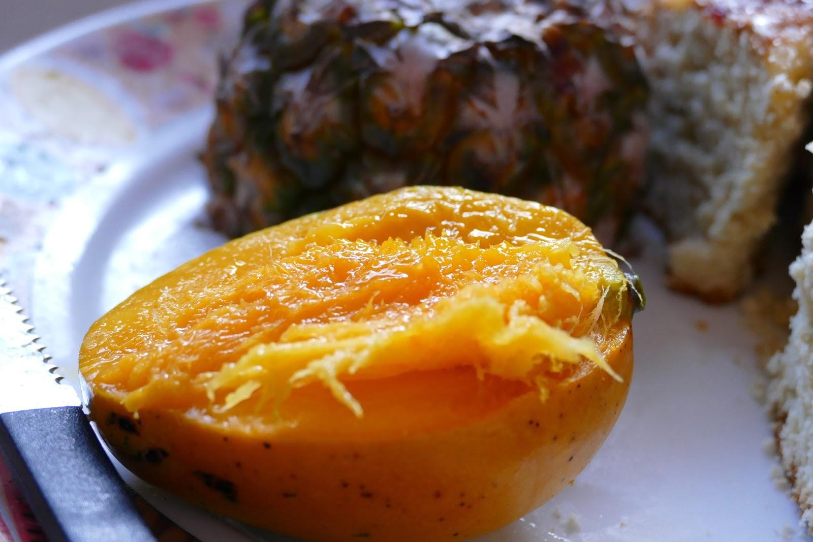 Peeled Mango fresh on plate