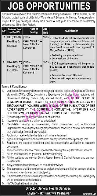 Health Department Kurram Jobs 2021 – District Health Officer Office
