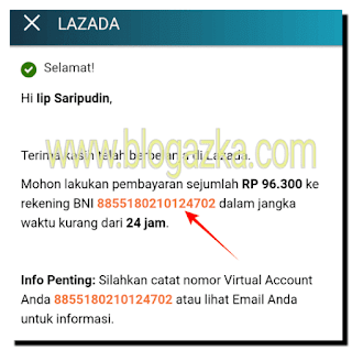 NO Virtual Account untuk pembayaran