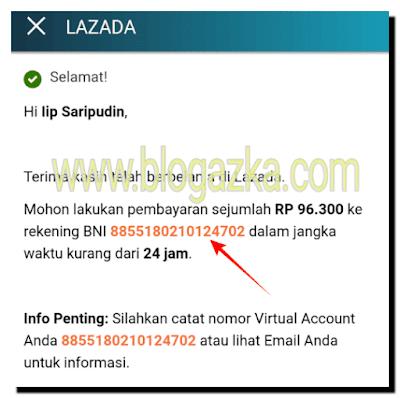 Nomor Virtual Account untuk pembayaran