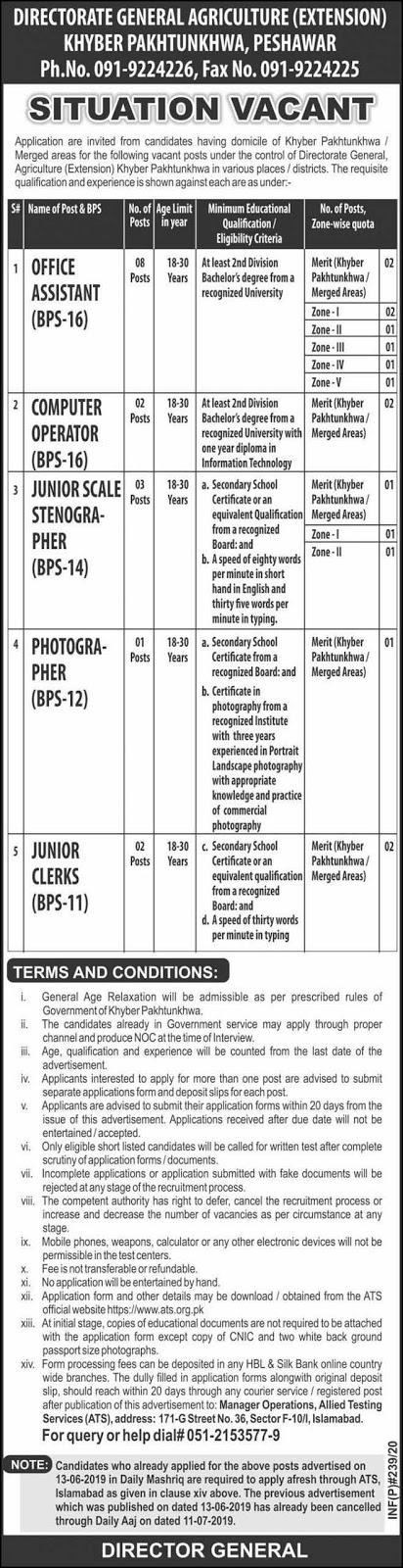 Agriculture Department Peshawar Jobs 22 Jan 2020