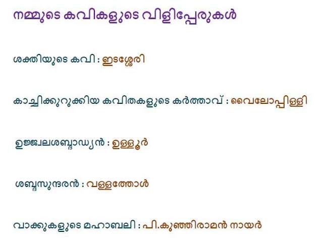 Kerala Famous Poets Nicknames in Malayalam Kerala PSC GK Questions