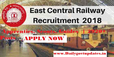 Eastern Railway Recruitment 2018,  Apprentics, Scouts, Guides  | 2920+ Posts Apply Now - Dailygovtupdates.in