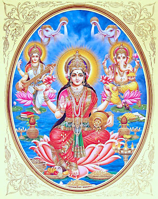 Images of Hindu Goddess of Wealth, Lakshmi