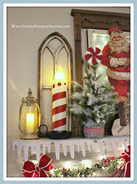 Vintage -Inspired- Cottage- Farmhouse -Christmas- Mantel-Blow-Mold-Candy-Cane-Stripe-Candle-Raz-Imports-From My Front Porch To Yours