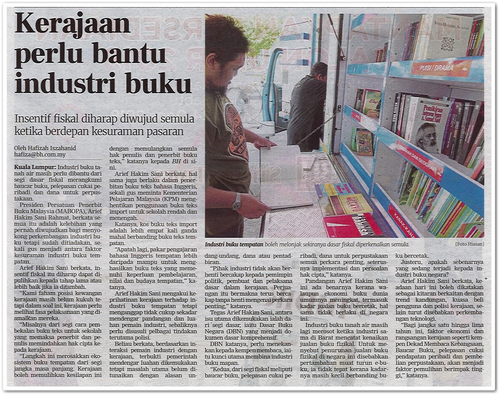 Kerajaan perlu bantu industri buku - Keratan akhbar Berita Harian 22 Julai 2019