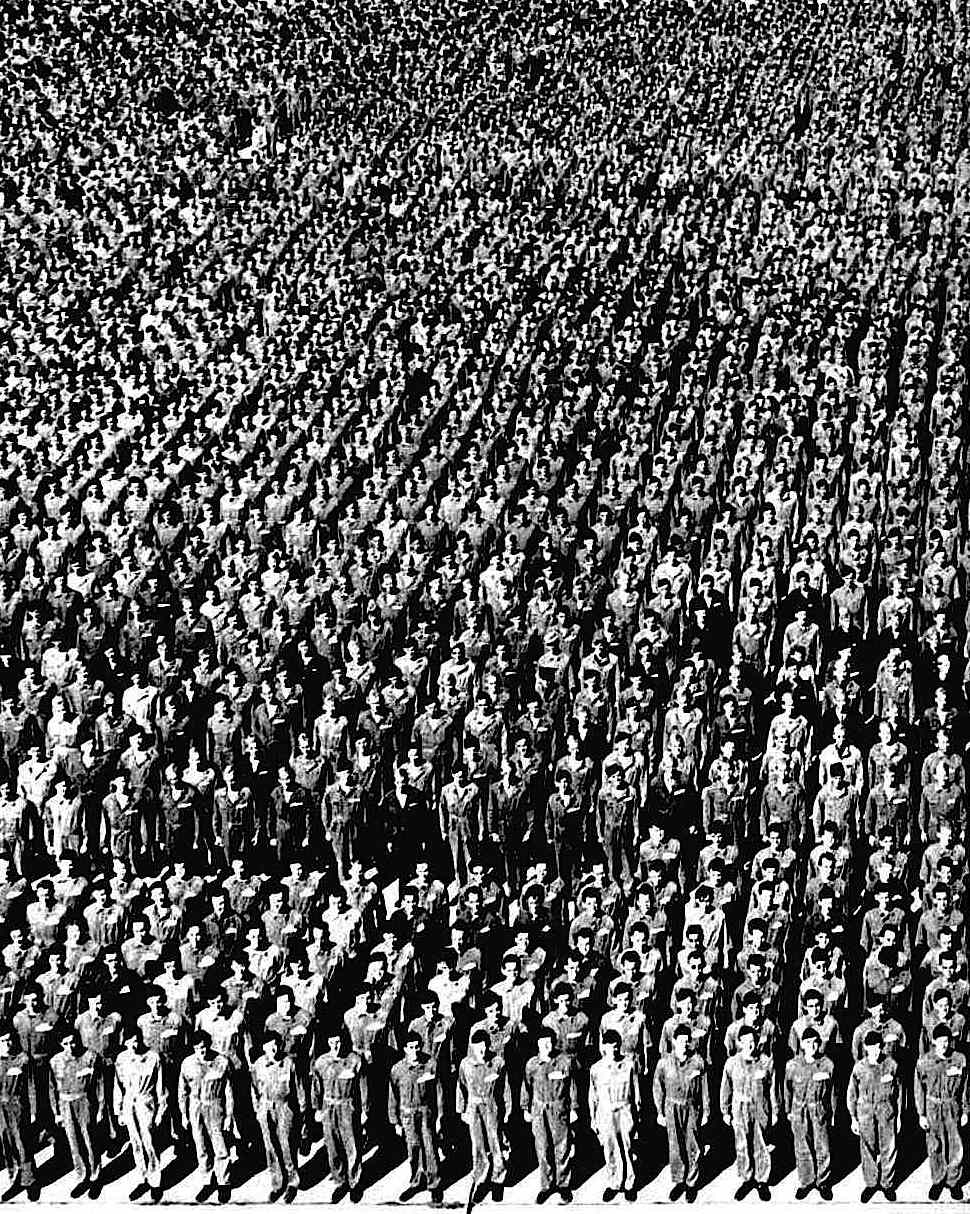 1941 USA troops at attention, an aerial group photograph