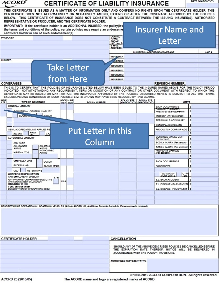 Simply Easier Acord Forms Acord 25 Insurer Letter Part 9 How To