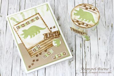 Einladungskarte Dinogeburtstag; Mottokindergeburtstag; Dinosaurierkarte; Geburtstagskarte Jungs; No bones about it; Partygestaltung basteln; Kinderworkshop; Stampinup; Stempel-biene