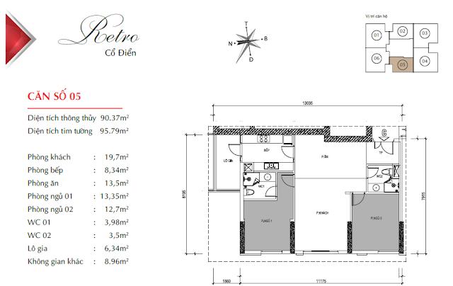 Căn hộ 05 với diện tích 90m2 thông thủy, 02 phòng ngủ