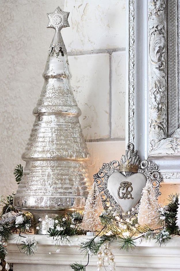 The Decorated House ~ Christmas Decor Decorations White with Mercury Glass and Silver 2013