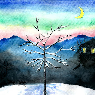 Snowy winter evening watercolor ink painting
