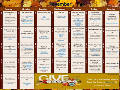 Learning ideas for paired with holidays for every November 2020 day.