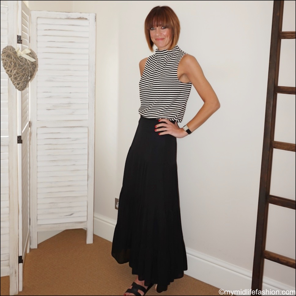 my midlife fashion, Ancient Greek desmos leather slides, marks and Spencer tiered maxi skirt, tibi stripe halter neck top